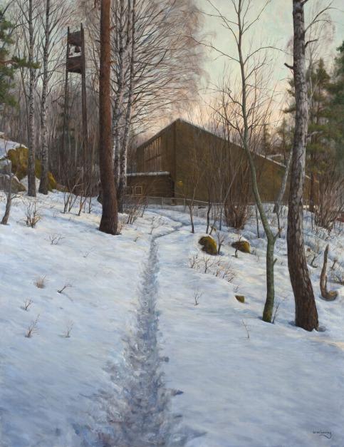 284 Kirken-i-skogen olje 180x140