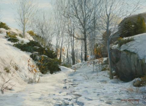 315 Vinterdag på Bastholmen pastell 50x65