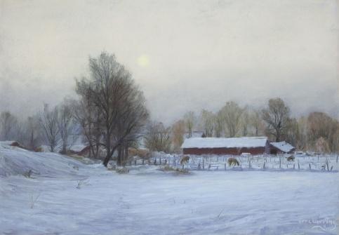 334 Vinter Hasle Søndre-pastell-50x70