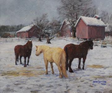 394-Hester-om-vinteren-pastell-39x46,5