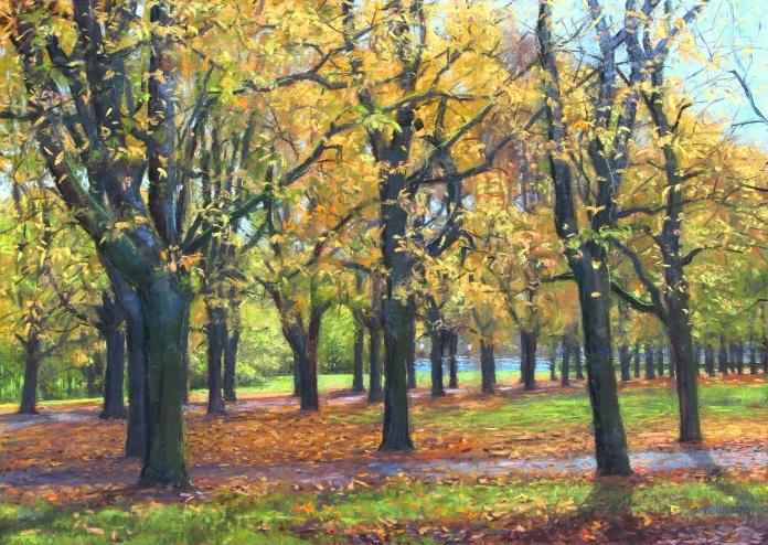 x08Vigelands-trær-pastell-50x70